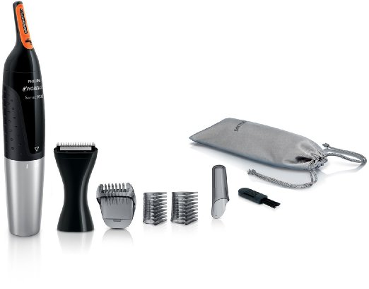 Philips Norelco Nosetrimmer 5100 for ear, nose and eyebrows with three attachments and lithium battery